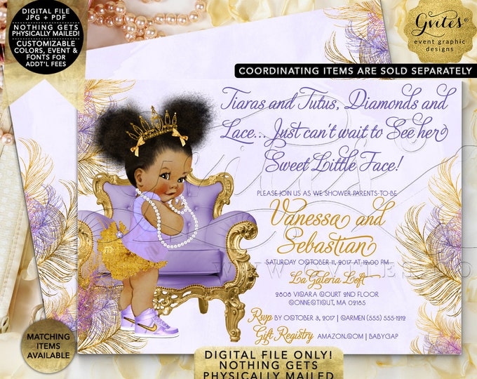 "Purple Lavender Gold Silver baby shower invitations Afro Puffs ethnic princess tiaras tutus diamonds 7x5"" Gvites 