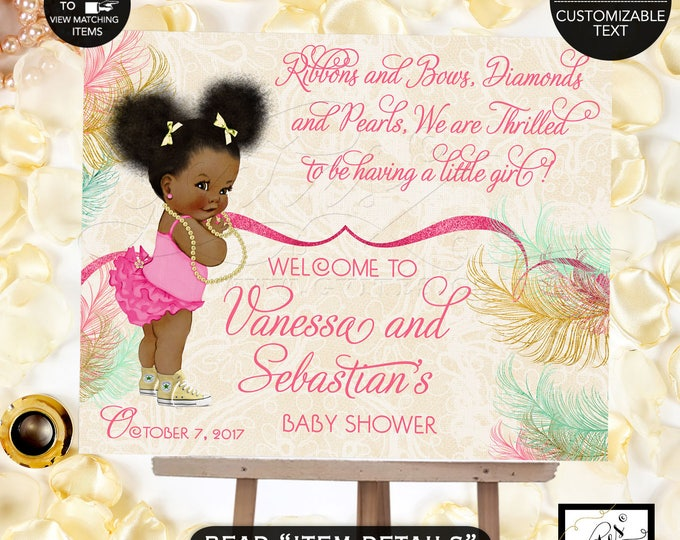 Welcome baby shower sign, baby banner, shower sign, baby girl, poster, mint green, ivory beige, gold and pink, afro puffs, digital poster.