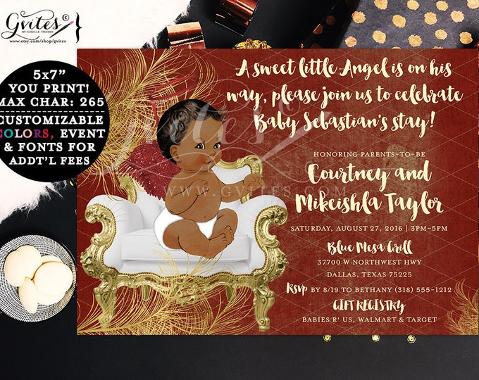Red White and Gold Baby Shower Boy Invitation, A sweet little angel is on the way, gold red, Printable Invites, African American 7x5