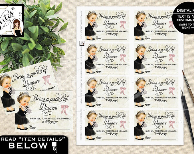 """Diaper Raffle Tickets, Princess Baby Shower, Ivory Beige and Black, Bow Diamonds Pearls, Breakfast at Printable, DIY, 3.5x2.5"""" 8 Per Sheet"""
