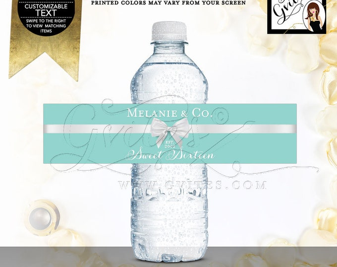 "Water Bottle Labels Sweet 16 Favors, Stickers, Gifts, Blue White Teen Party Printable, DIY, 8x2""/5 Per Sheet. Digital File Only! Gvites"