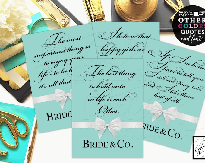 Bridal Shower Signs Decorations, Bride and Co quote signs, Audrey Hepburn Quotes, breakfast at bridal signs. Set of 4 {4x6 or 5x7}