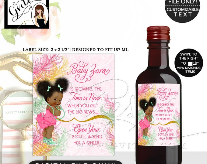 "MINI Wine Labels Pink Yellow Gold and Mint, Afro Puffs, African American Baby Shower Party Printable, DIY, {2x2.5"" 12 Per/Sheet} Gvites"