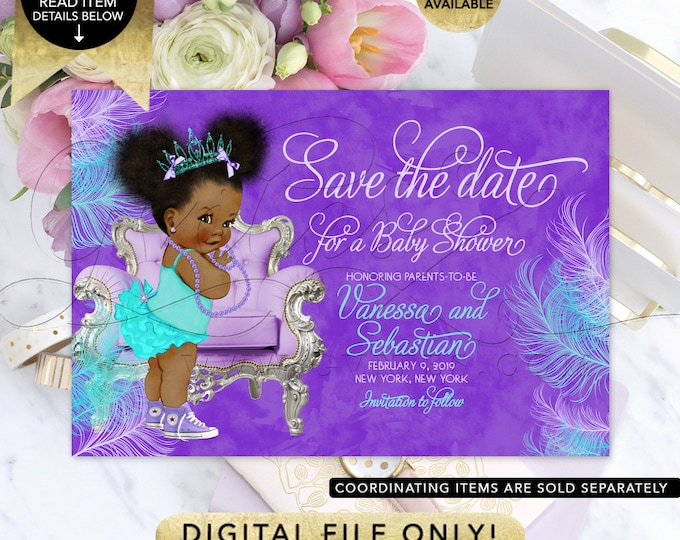 "Save The Date Baby Shower Purple Lavender Aqua Turquoise, Tiara Princess Printable, Afro Puffs African American Vintage, 7x5"" Gvites."