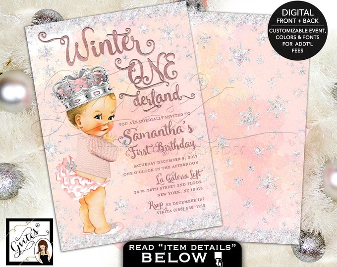 Winter Wonderland First Birthday Invitations vintage baby girl, snowflake princess digital, 5x7 double sided, 5x7, Gvites