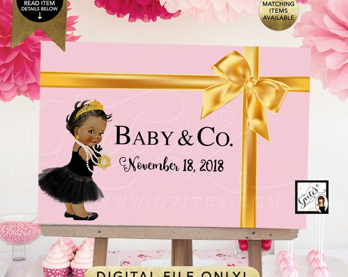 Baby and Co Backdrop Baby Shower, Poster, Signs, Dessert Table Decor, Pink and Gold, Diamonds Breakfast at, DIY, Digital {Light Pink}