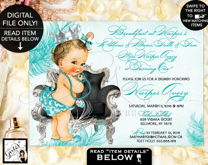 Blue and Silver First Birthday Printable Invitation, Vintage Baby Girl, Pearls, Bows, Princess Silver, Black. Breakfast at, Digital, DIY.