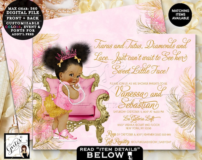 Pink and Gold Baby Shower Printable Invitation, Tiaras Diamonds Pearls, African American Princess Double Sided 7x5 {Pink/Gold Feathers}