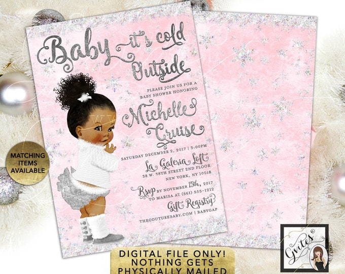African American Pink and Silver Baby it's Cold Outside Invitations, Winter Wonderland 5x7 double sided. Gvites