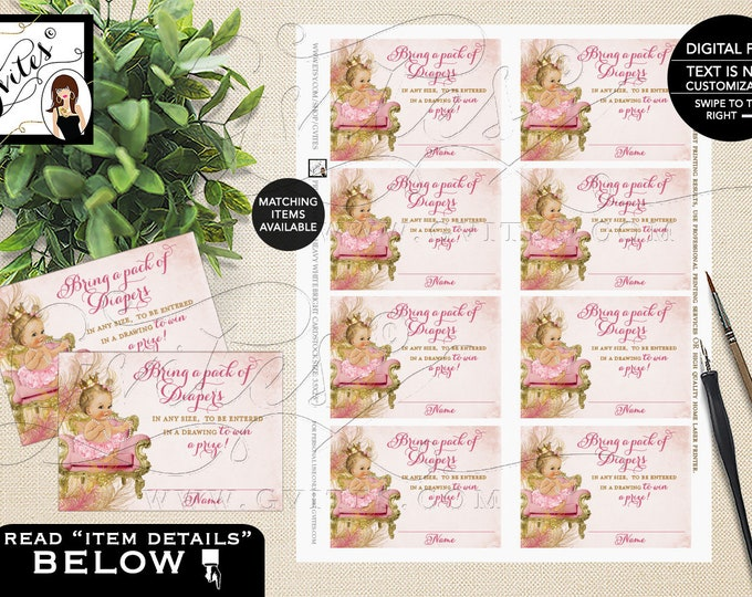 "Diaper Raffle Tickets Blush Pink and Gold Royal Princess Baby Shower Vintage Baby Girl, Printable, Diamonds Pearls Gvites 3.5x2.5"" 8/Sheet."