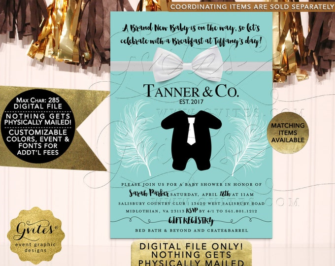 Baby Co Baby Shower Boy Printable Invitation | Digital File Only! JPG + PDF Format | By Gvites