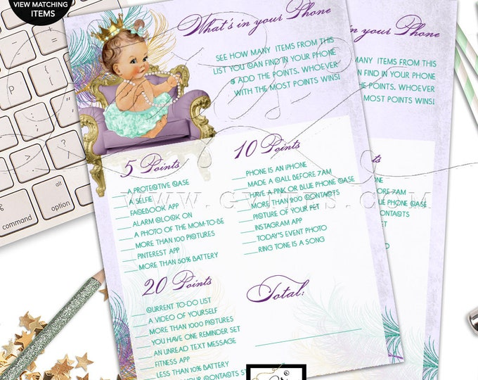 What's In Your Phone Baby Shower Game, Printable games Vintage girl lavender mint, ribbons bows, diamonds pearls, princess, Digital, DIY