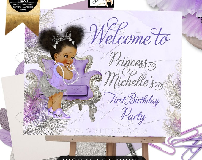 Welcome Sign Purple Lavender Silver First Birthday, Princess African American Girl, Afro Puffs, Tutus Tiaras Pearls, DIY, Digital, Gvites.