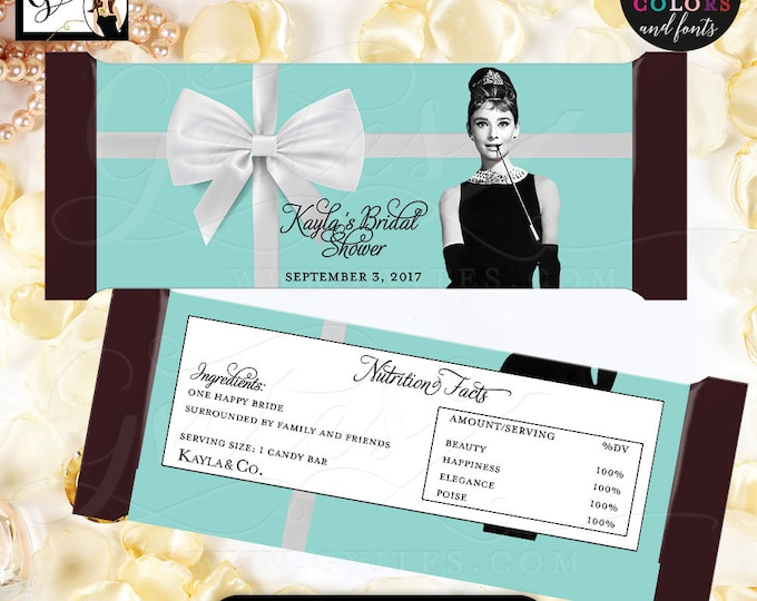 """Audrey Hepburn Bridal Shower Candy Bar Printable Wrapper, Breakfast at party, labels, favors, gifts {2 Per/Sheet 5.25 x 5.75""""}"""