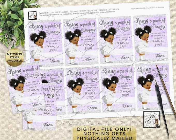 """Diaper Raffle Tickets Baby Shower Lavender and Silver its cold outside African American Afro Puffs Curly Vintage Baby, 3.5x2.5"""" 8/Per Sheet."""