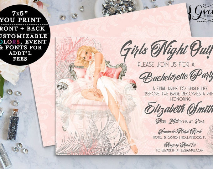 Pin Up Girl Bridal Shower Invitation, Lingerie 1050s blush pink vintage pinup, pink and silver, girls night out, bachelorette.