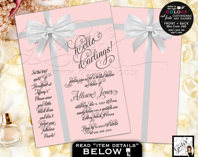 Light Pink and Silver Bridal Shower invitations, Audrey Hepburn invitation, customizable any shower. PRINTABLE 5x7 double sided.