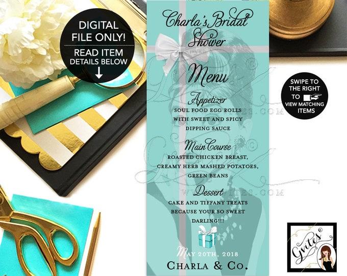 "Audrey Hepburn  Menu Cards, Breakfast at Bridal and Co Blue Bridal Shower Menus Printable, Menus, Personalized, 4x9"" DIGITAL. Gvites"