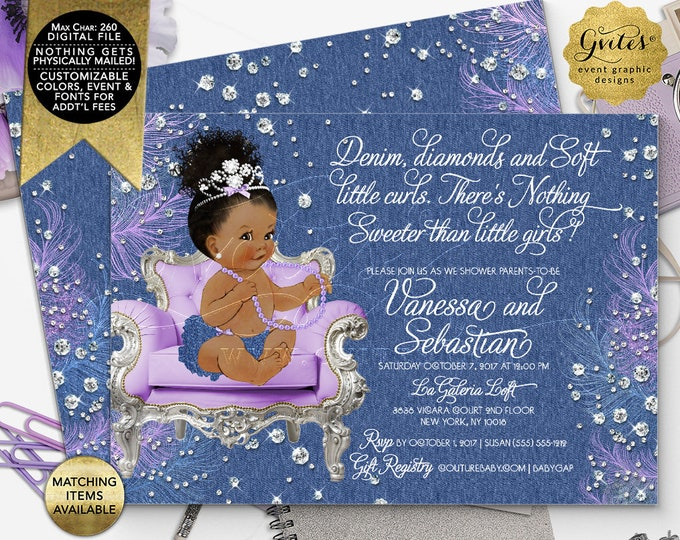 "Denim diamonds and soft little curls Baby Shower Invitation, Afro Bun Curly Vintage African American Baby Girl. 7x5"" Double Sided, Printable"