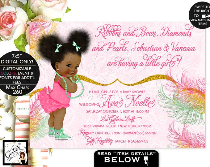 Mint and Gold Baby Shower invitation, mint green, yellow gold glitter, Afro Puffs African American baby girl invitations. Digital Gvites