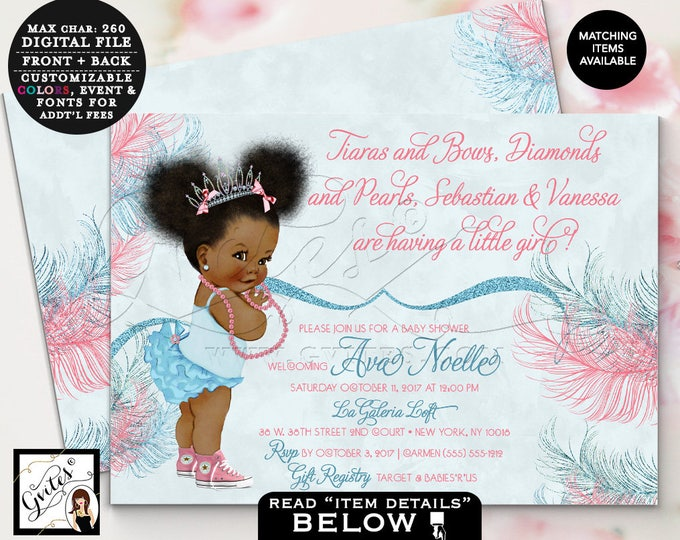 Pink and Blue Princess Baby Shower Printable Invitation, Tutus and Bows, Diamonds and Pearls, Afro Puffs, African American Vintage Baby, 7x5
