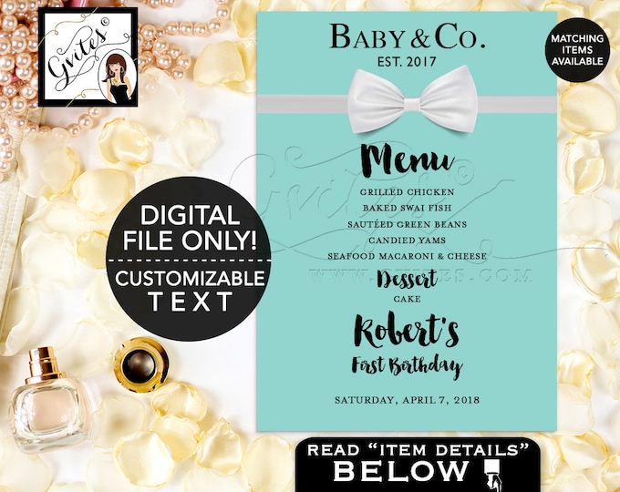 Baby and Co Baby Shower or Birthday Menu Cards, Blue and White, BOY Menus Printable Bow Tie, Breakfast at and Co Party Printable