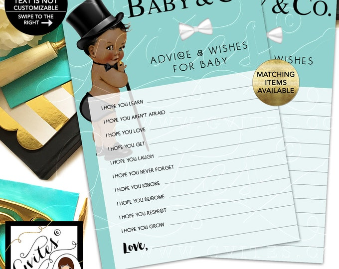 Baby and Co Advice Card, Baby Wishes, African American Vintage Boy with Top Hat and Cane. INSTANT DOWNLOAD, 5x7/2 Per Sheet {Dark/Jet}