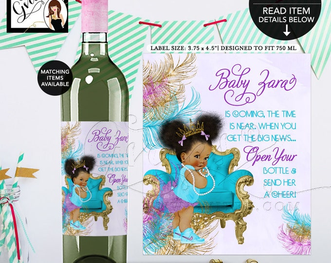 """Baby Shower Wine Labels Turquoise Purple Gold, African American baby girl, princess, Afro Puffs {3.75x4.5""""/4 Per Sheet}. Gvites"""