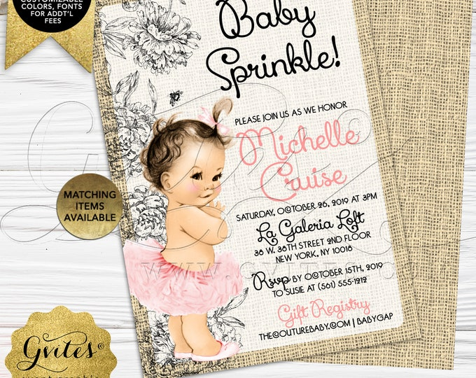 "Burlap Baby Shower Invitations | Printable/Digital File Only! JPG + PDF Format | 5x7"" Double Sided 