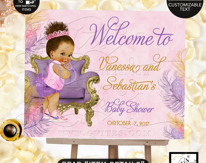 Welcome Baby Shower Sign, Pink and Purple Gold, Afro bun puffs, ethnic princess printable poster signs DIY, Digital File, Printable, Gvites.