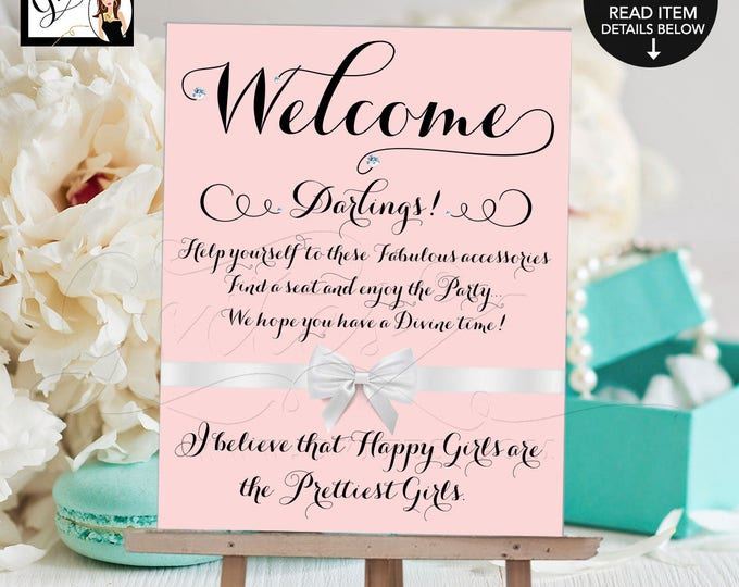 Pink Welcome Signs, Audrey Hepburn, Breakfast at Bride and Co darlings party, quote sign, decor, bridal shower, birthday, wedding. 8x10