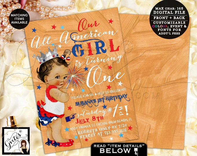 Independence Day style Invitations, Our little girl is turning 1, vintage baby girl theme, african american babygirl, cute PRINTABLE. Gvites