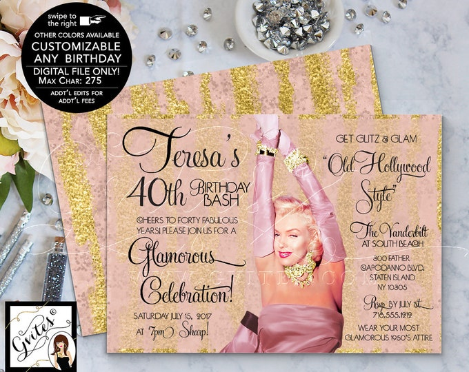 "Marilyn Monroe Style 40th Birthday Invitations, Blush Pink Rose Gold Hollywood Birthday Invites, 1950s style, printable 7x5"" Double Sided."