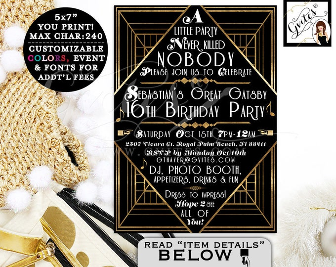 The Great Gatsby Teen Birthday Invitation For Boys, Black and Gold Art Deco Design Invites, Customizable For Any Birthday, 5x7.