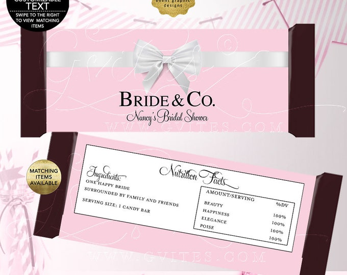 """Bride and Co Candy Bar Wrappers, Pink wedding wrapper chocolate labels, Breakfast at co favors gifts, {2 Per/Sheet 5.25 x 5.75""""}"""