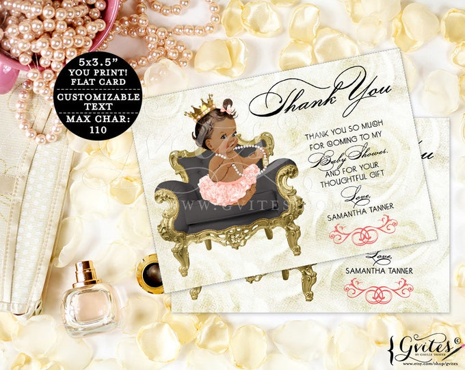 Thank You Cards baby shower ribbons bows, diamonds pearls, baby girl, coral gold and beige, african american, flat printable customizable.