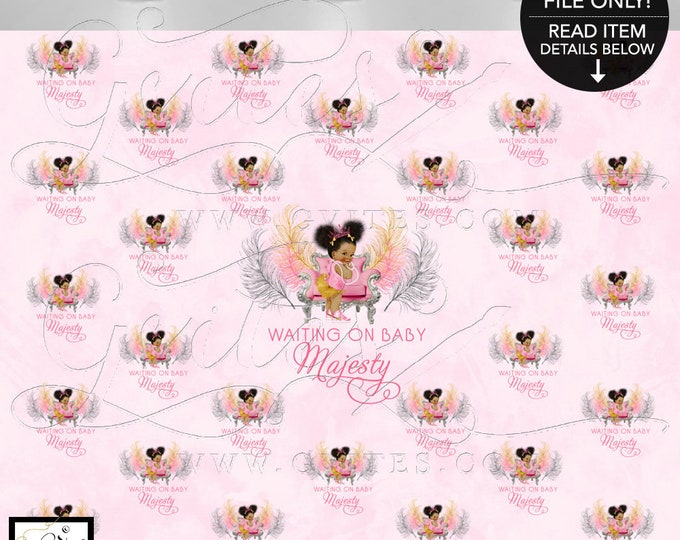 Step & Repeat Pink and Gold Baby Shower Backdrop Banner, Photo Booth, African American Princess Decor, Digital. {Gold/Silver/Pink Feathers}