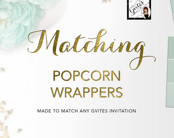 Matching Popcorn Wrappers Add-on - To coordinate with any Gvites invitation design