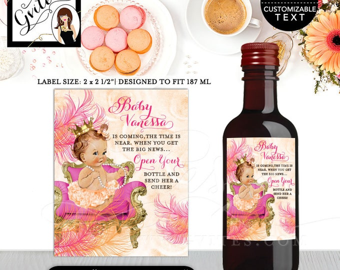 """MINI Wine Labels Baby Shower, the time is near, favors gifts, stickers party bottle wrappers, label, diy, digital {2x2.5"""" 12 Per/Sheet}"""