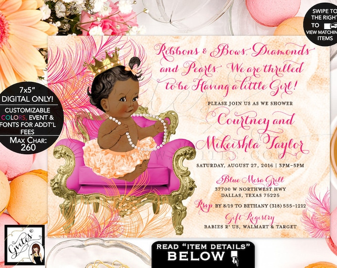Pink Orange and Gold Baby Shower Invitations, Ribbons Bows Diamonds and Pearls, Little Baby Girl, African American Princess, Vintage, 7x5