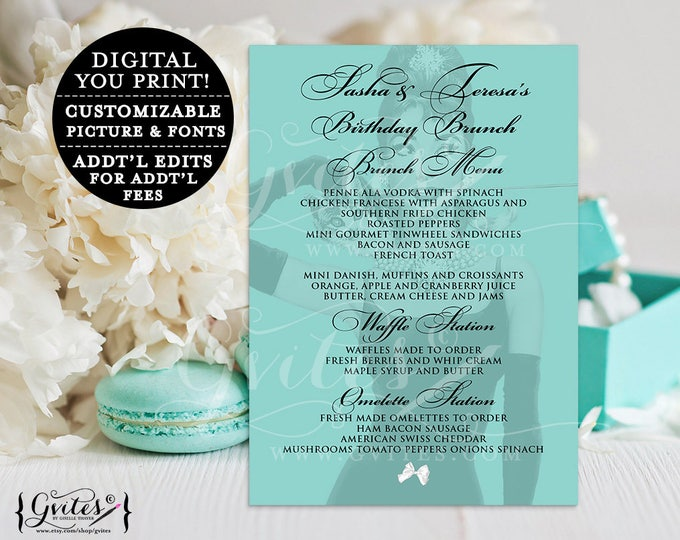 Audrey Hepburn Customizable Text, Birthday menus, Birthday Brunch Menu Cards, breakfast at co blue themed and co 5x7, digital file, Gvites.