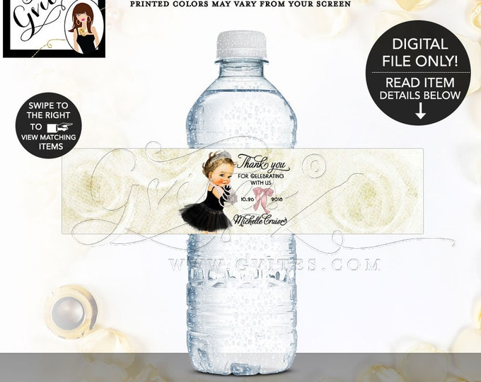 "Princess Water Bottle Labels Baby Shower, Diamonds Pearls, Breakfast at Printable, DIY, 8x2""/5 Per Sheet. Digital File Only!"