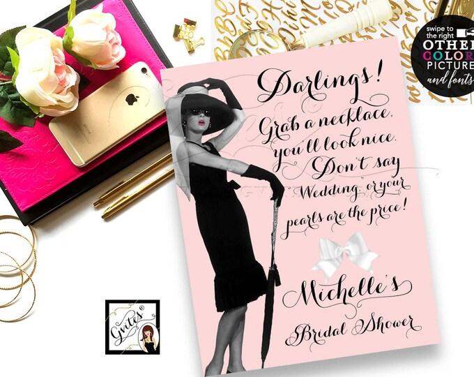 Bridal shower games printable, blush pink breakfast at co bridal shower, grab a necklace game sign, don't say wedding, Audrey Hepburn 8x10