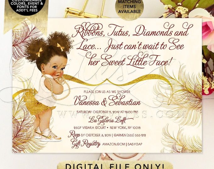 Ivory and Gold Ribbons and Bows Baby ShowerInvitation. Printable File. PDF + JPG File. 7x5""