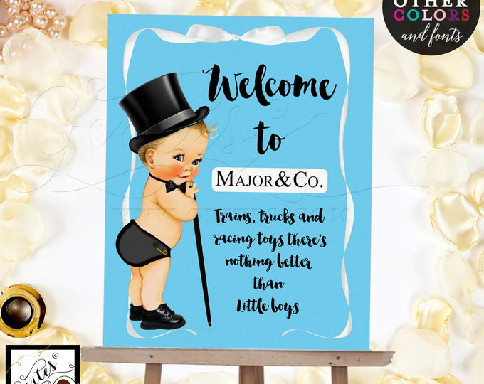 Baby Shower BOY Welcome sign, white bow, customizable text, colors and fonts. Digital File Only!