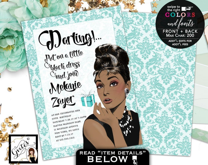 African American Audrey Hepburn, Breakfast Themed Birthday Invitation, African American, adult women double sided, 5x7, Digital File ONLY!