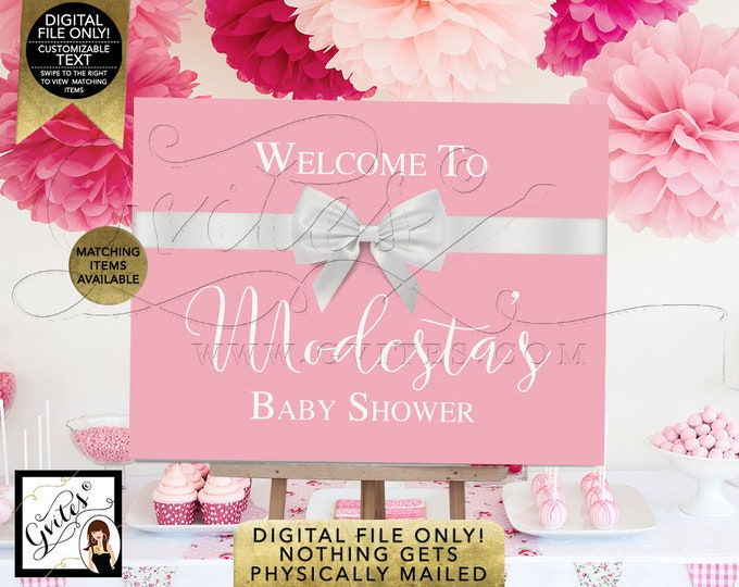 Welcome Sign Baby Shower Pink Poster, Baby and Co, Decorations, Breakfast at Entrance Centerpiece, Dessert Table, Printable Digital, Gvites.
