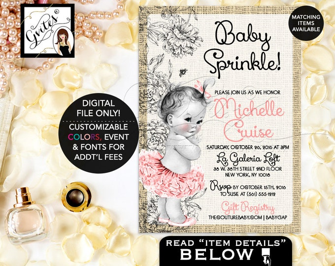 Burlap Baby Shower Invitation, Pink and Ivory Baby Sprinkle, vintage shabby chic tutus, ruffles bows, 5x7 baby girl Gvites.