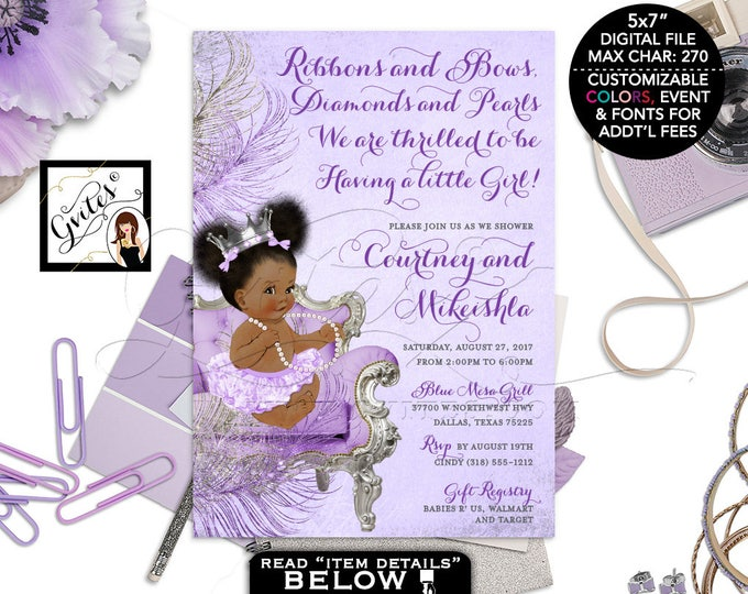 Purple and Silver baby shower invitation, princess African American baby girl, afro puffs, purple invites Silver Crown, DIGITAL 5x7 Gvites