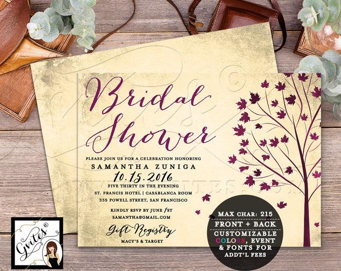 """Fall Bridal Shower Invitation, Burgundy Vintage Invites, Autumn Tree Leaves Invitations, Double Sided, 7x5"""" Digital, DIY, Gvites."""